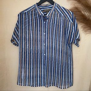 Tommy Bahama Blue & Tan Striped Button Up
